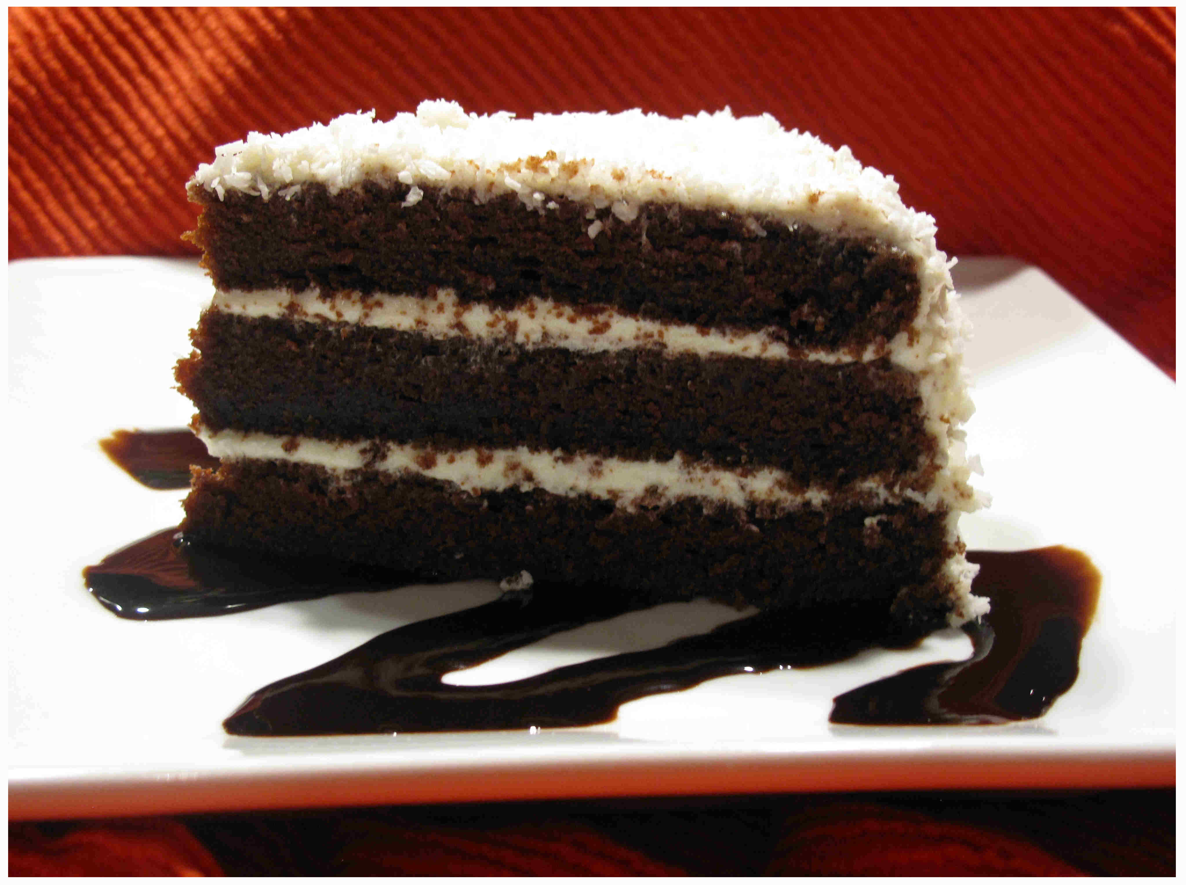 dark chocolate-coconut cake