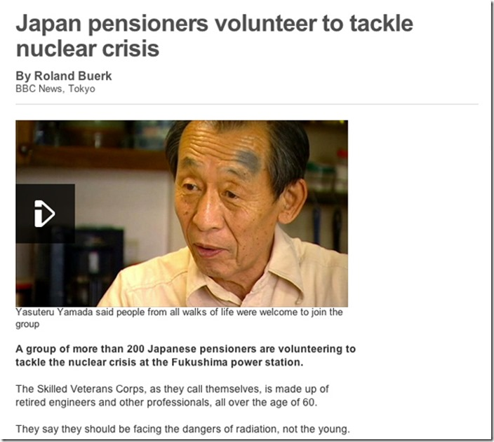 This story about Japanese senior citizens who volunteered to tackle the nuclear crisis