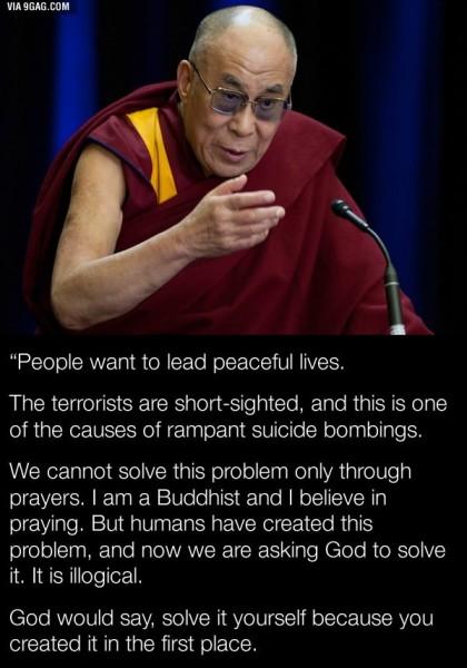 Dalai Lama says ACTION not PRAYING will help us 1