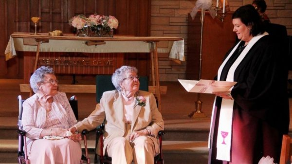 Iowa couple marries after 72 years of being together.