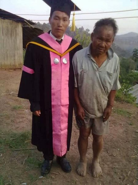 poor farmer with his college educated son.