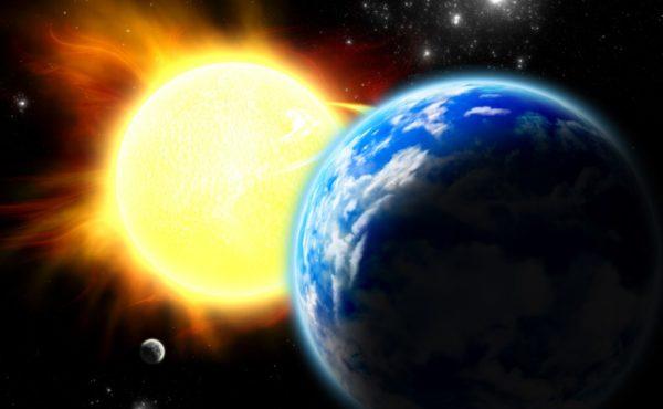 Blue Speck Of Dust Orbiting A Fireball