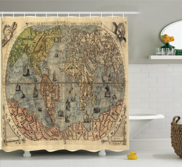 old-geography-expert-educational-shower-curtain
