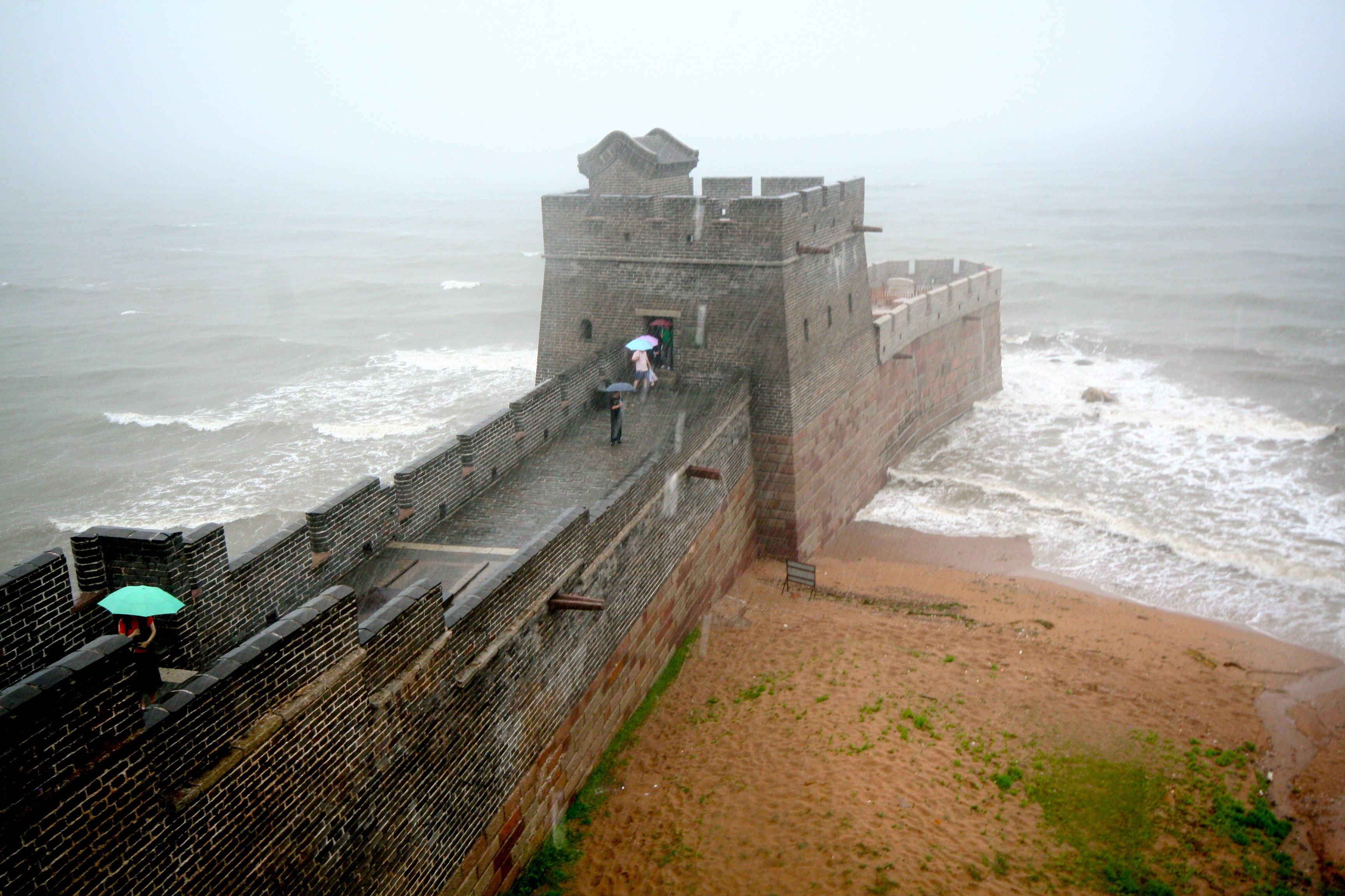 2. The end of the Great Wall of China.