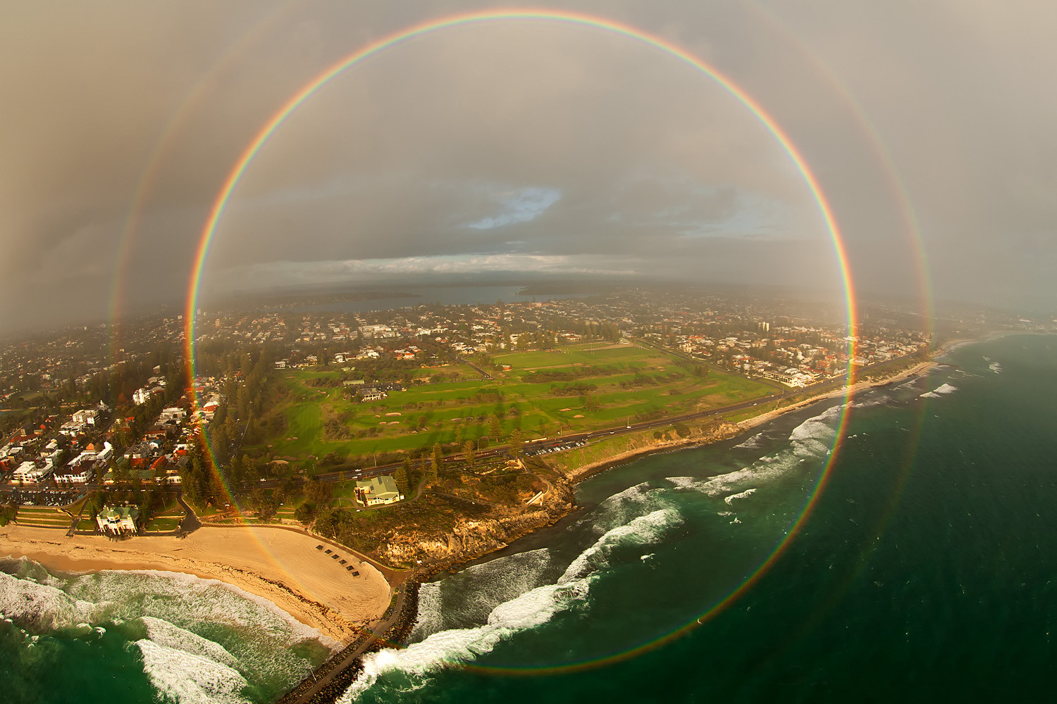 4. A 360-degree rainbow as seen from an airplane.