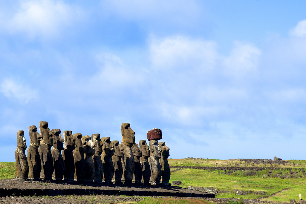 9. strange and ancient Easter Island sculptures as they stand, clustered together