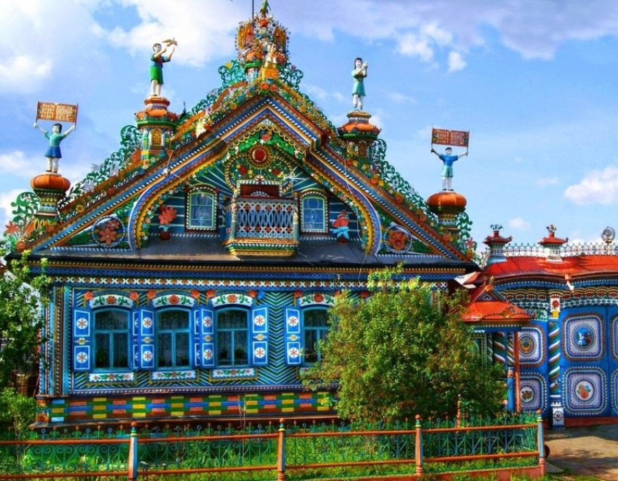Splendid is the word. The house of Kirillov the blacksmith, Kunara, Russia.